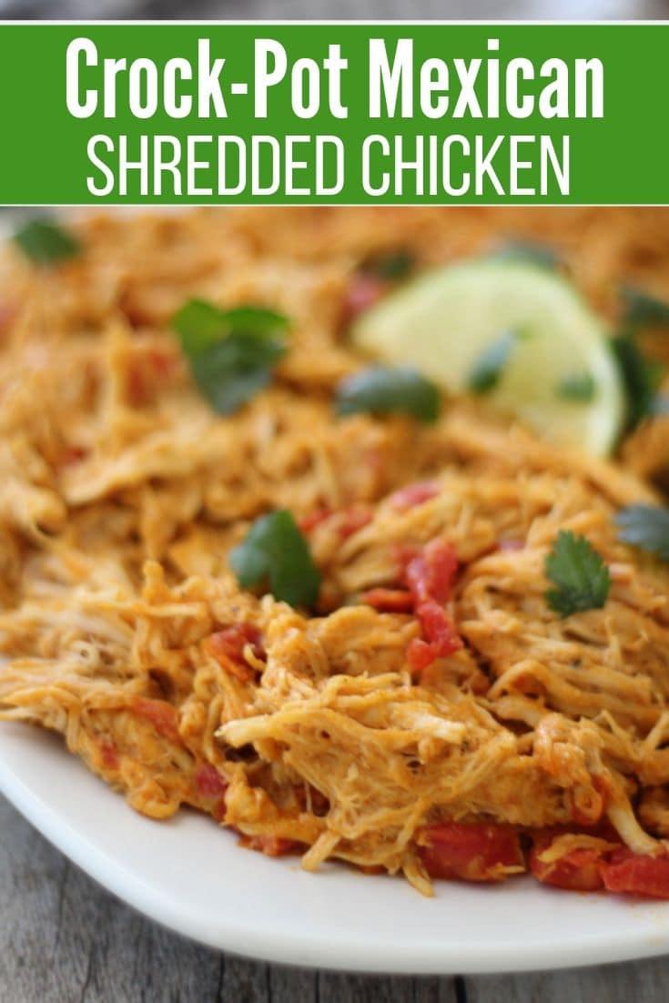 a platter of crock pot shredded chicken
