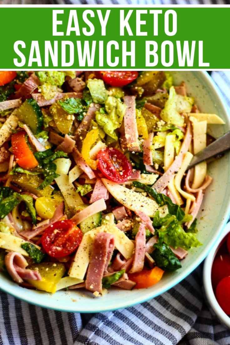 easy keto sandwich bowl in a bowl with cherry tomatoes to the side