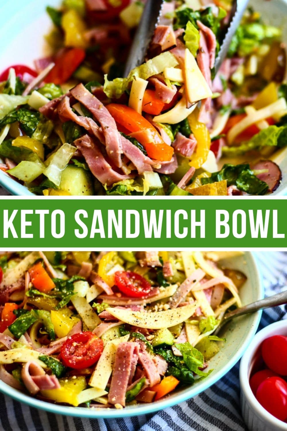 Collage of keto sandwich bowl. The top picture has the ingredients being tossed, and the bottom is the bowl that has been finished.