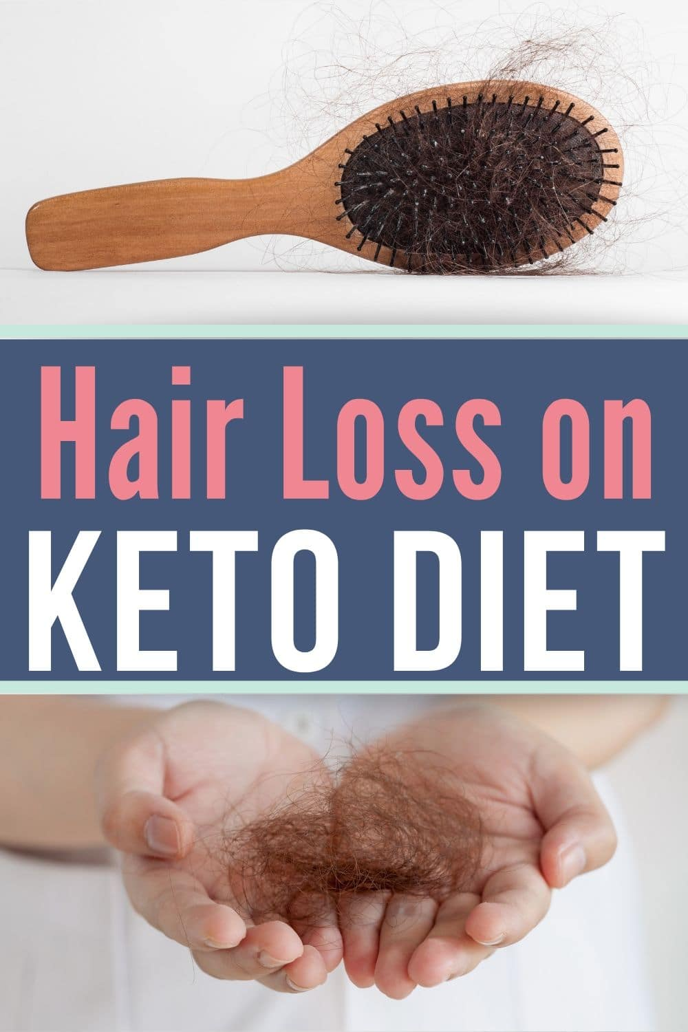 a collage of hair loss in a brush and hand for hair loss on keto
