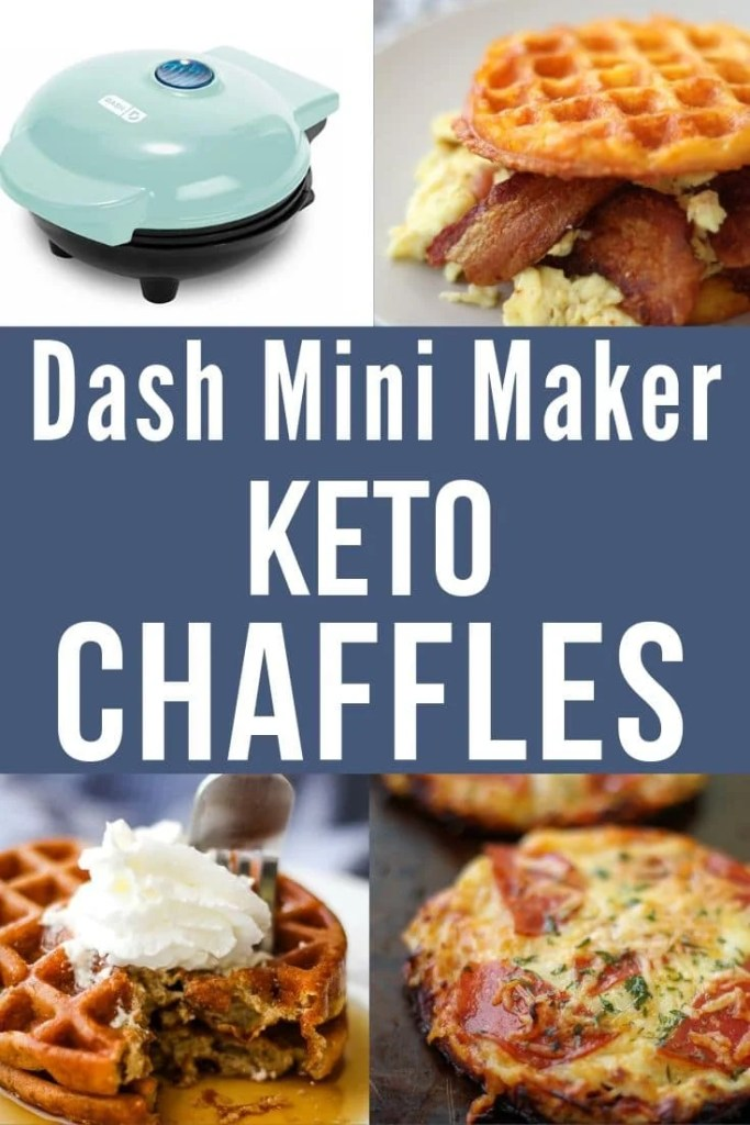 collage of dash mini maker and chaffle recipes
