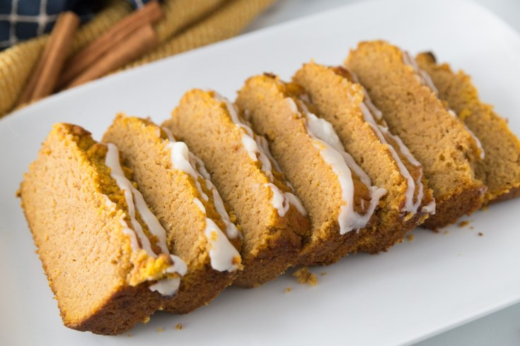 easy quick sugar-free pumpkin bread plated