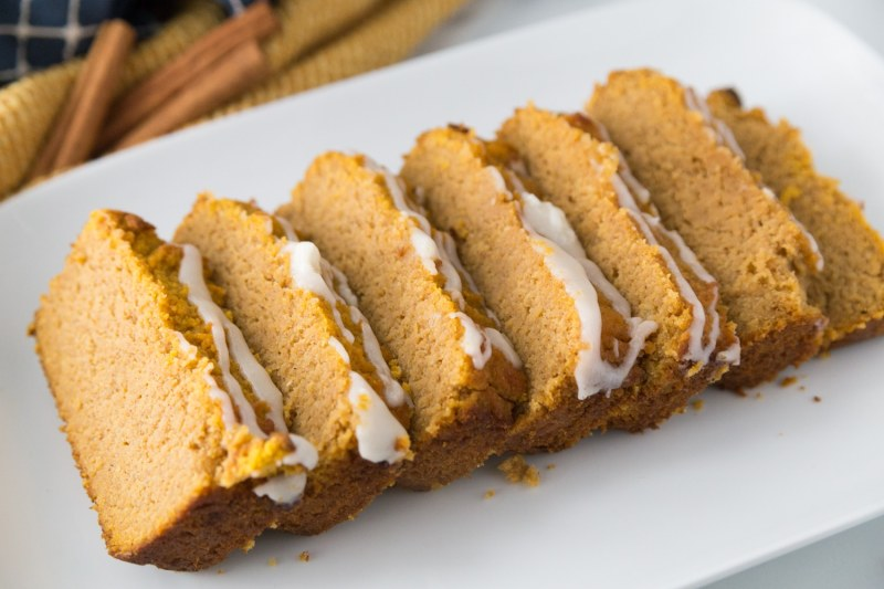 keto pumpkin bread on a white platter for a low carb breakfast