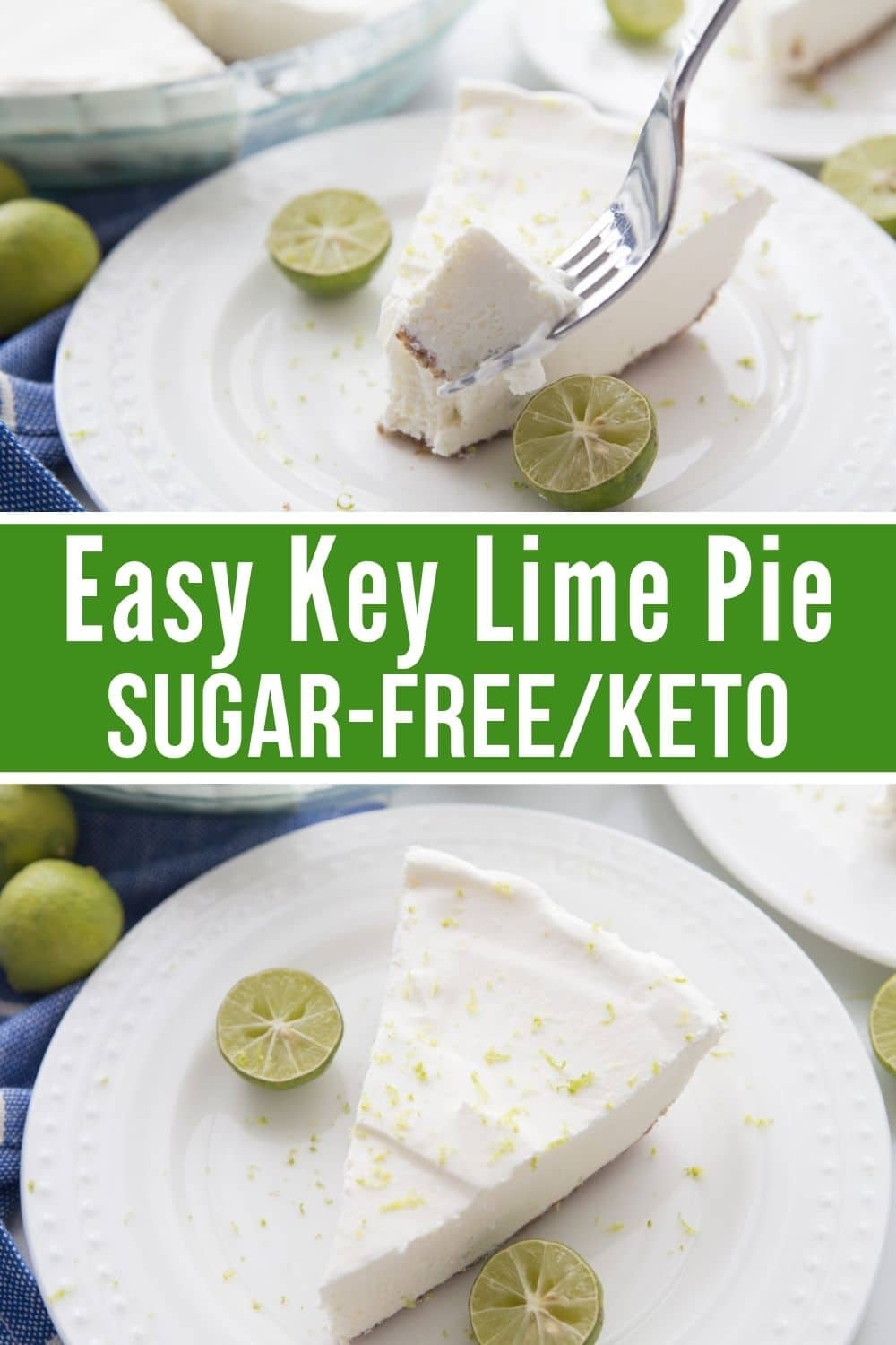 collage of sugar-free key lime pie