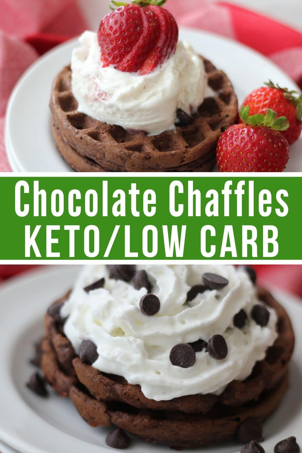 collage of chocolate chaffle keto recipe plated