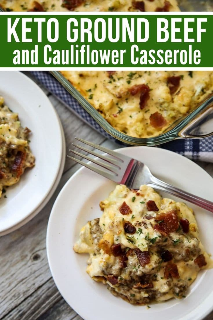 keto ground beef & cauliflower casserole plated with the baking dish in the background.