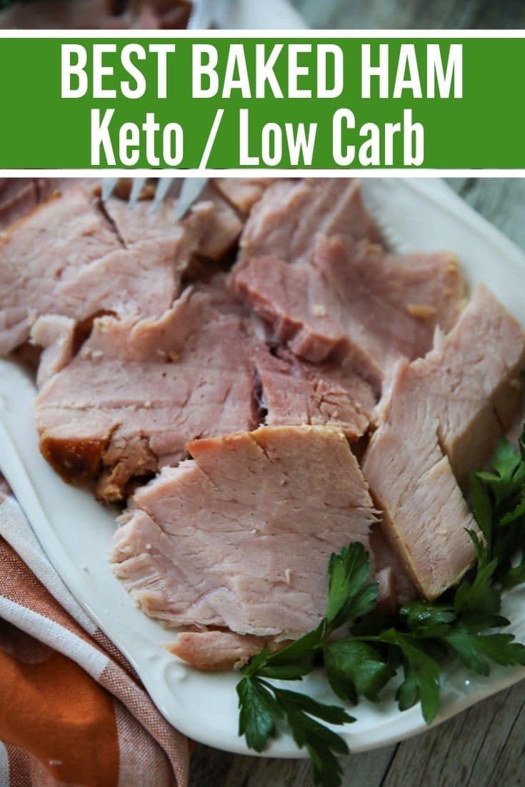 sliced baked keto ham on a platter