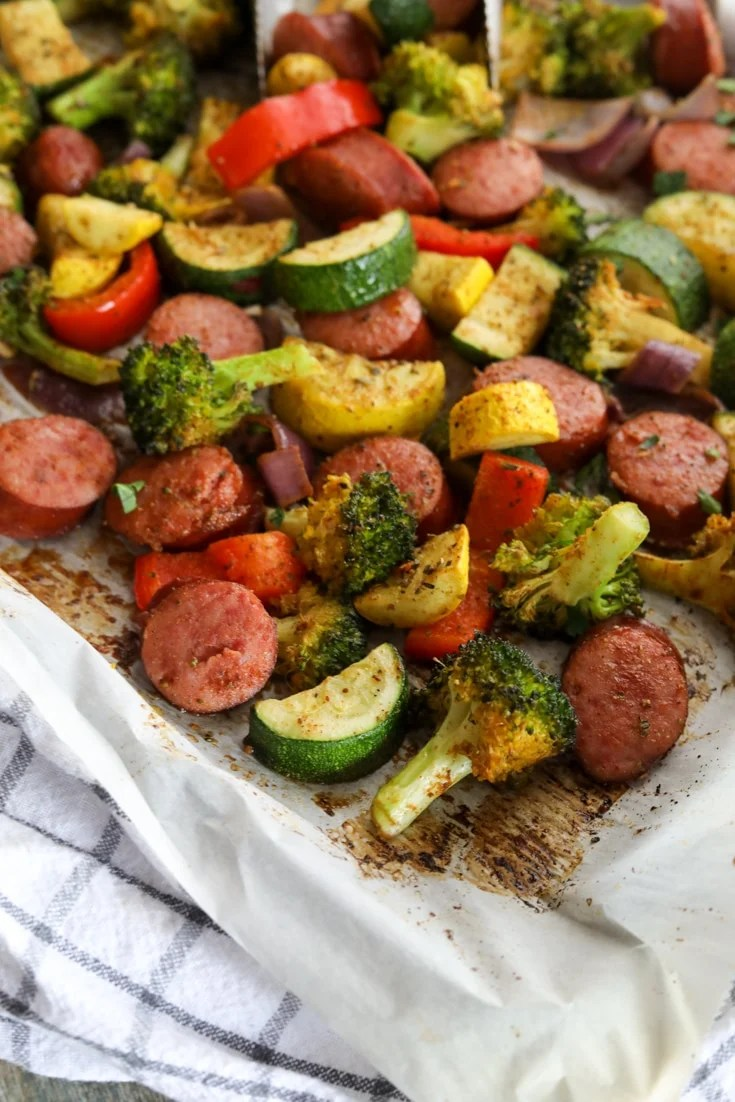 Baked sausage and vegetables sheet pan meal
