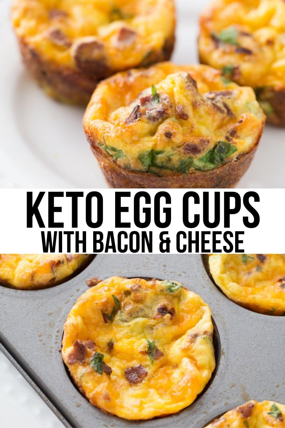 two images of egg muffins in a muffin tin and on a plate