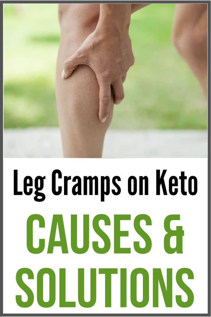 leg cramps on keto graphic with a lady holding her