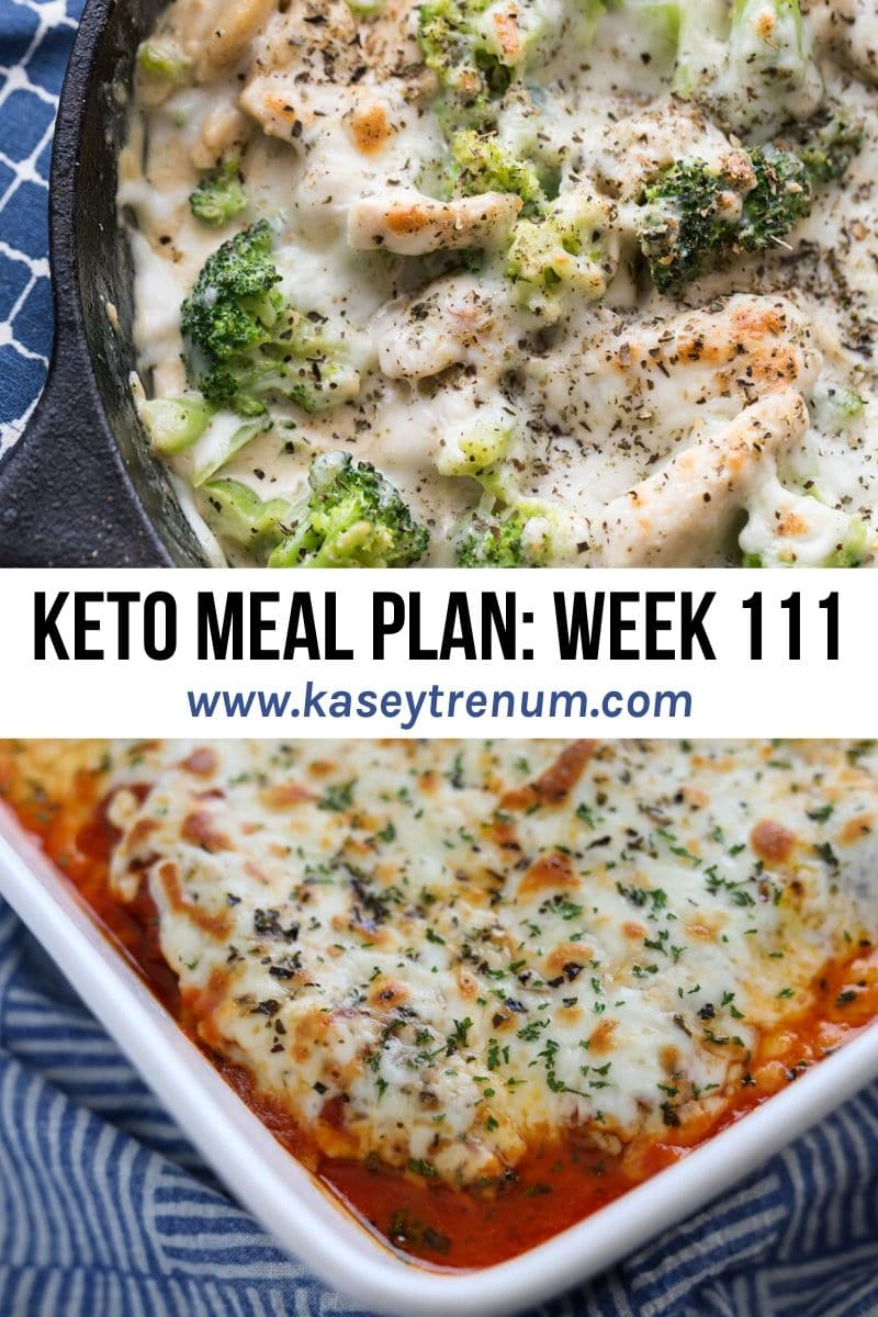 Collage of two keto dinner ideas for meal plan. One is keto Alfredo and the other Italian Sausage Bake