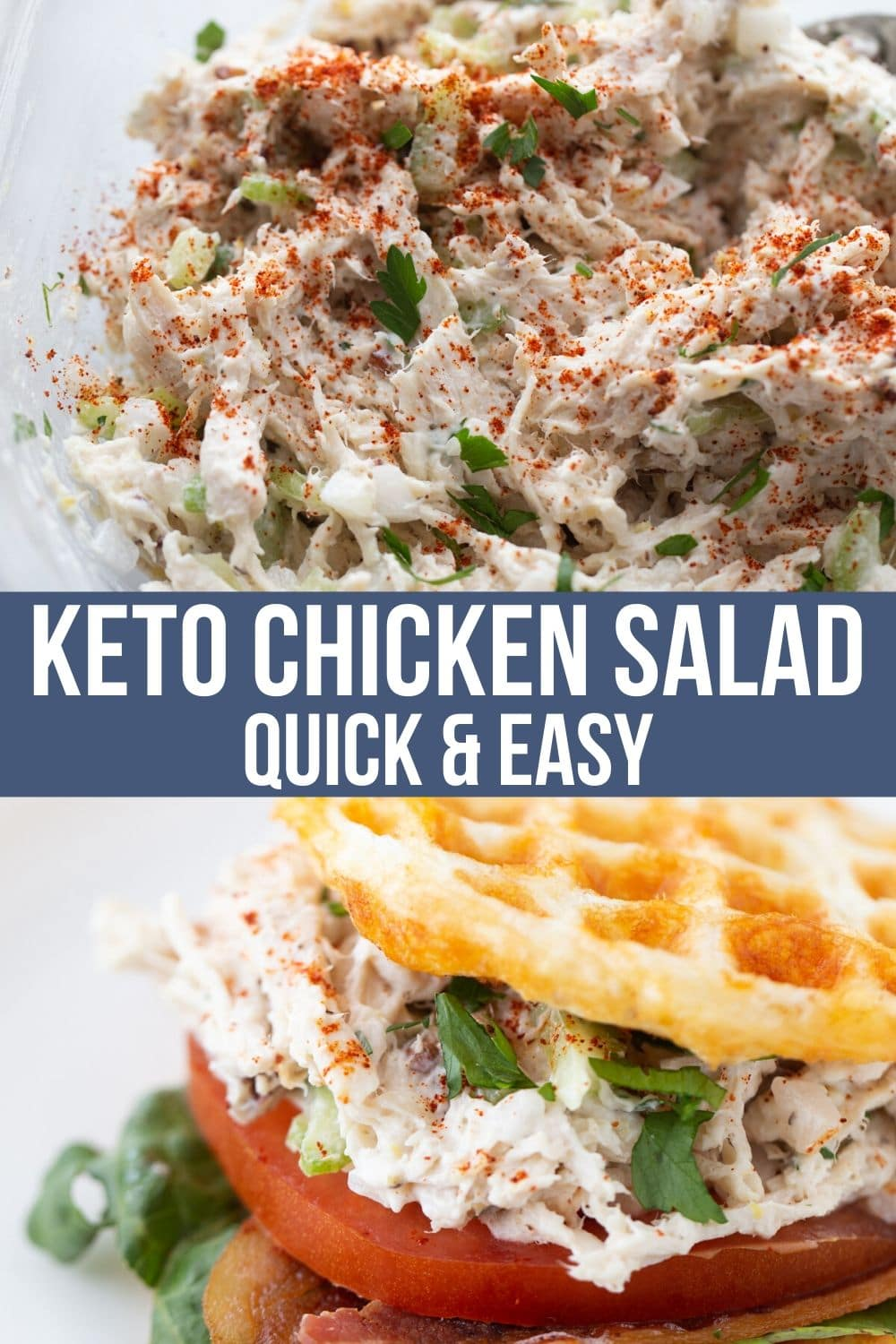 keto chicken salad recipe in a bowl and on a chaffle