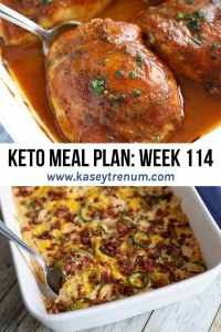 keto meal plan graphic with two keto recipes