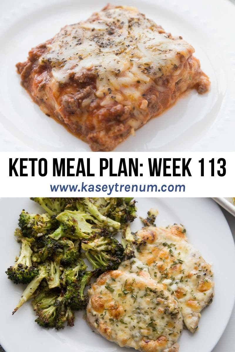 Collage of two images for keto meal plan with keto lasagna on the top and baked pork chops on the bottom