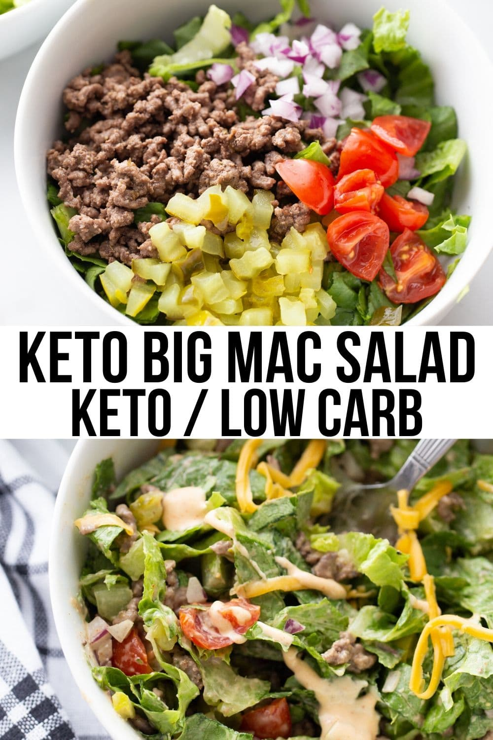keto big mac salad in a white bowl with shredded cheese on top