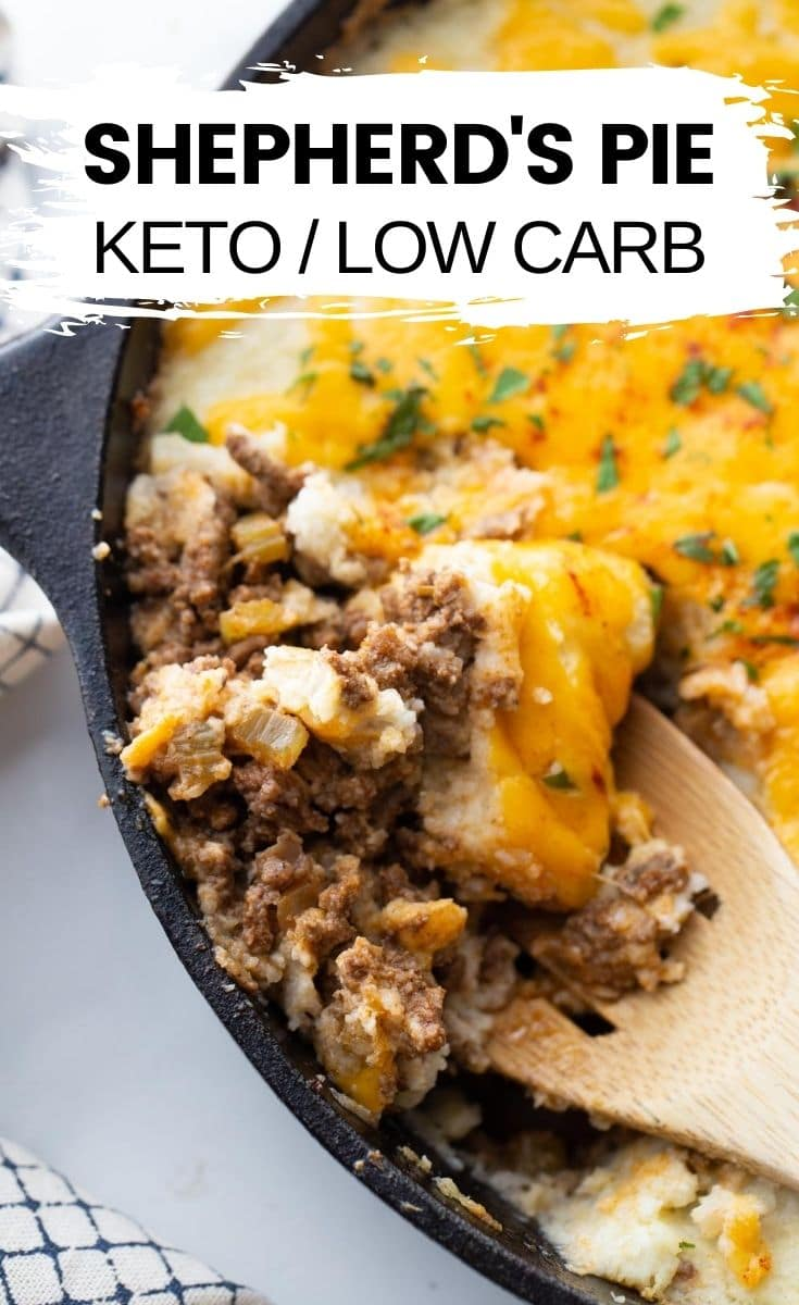 "sheppards pie in a cast iron skillet with text overlay ""sheppards pie keto/low carb"""