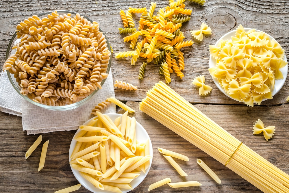 different types of pasta on a table