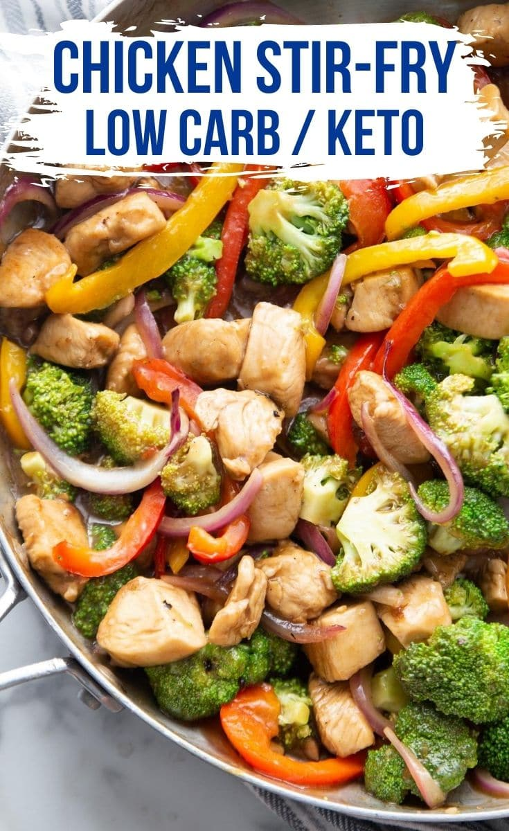 low carb stir fry recipe with vegetables in a skillet