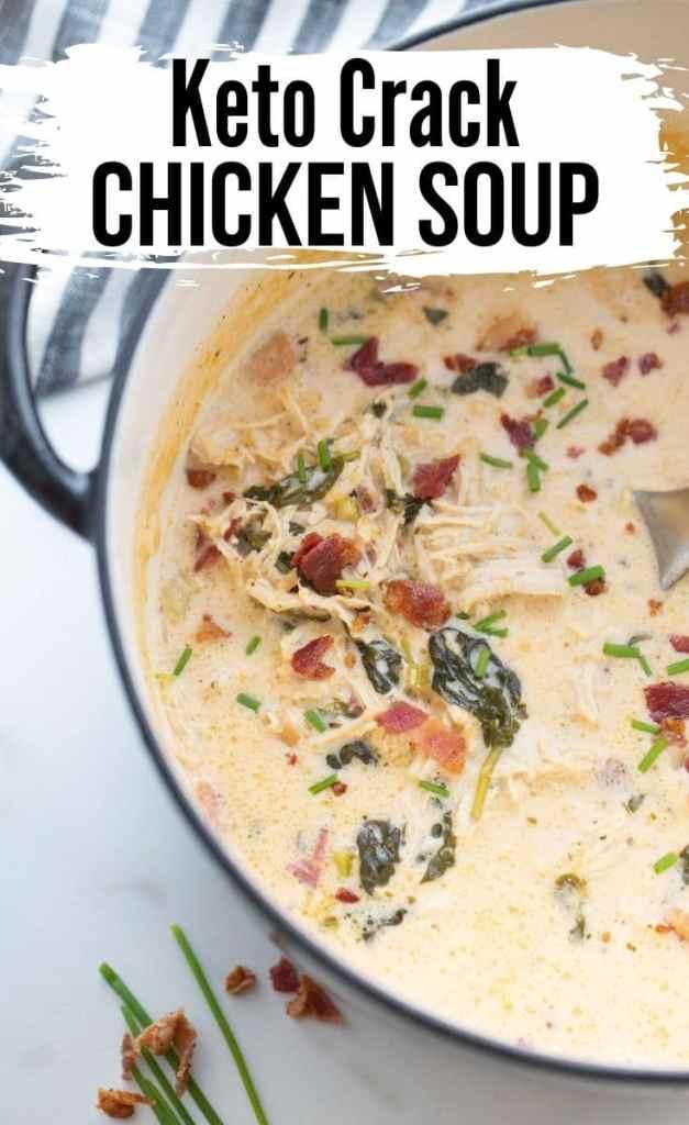 keto chicken bacon crack soup in a dutch oven