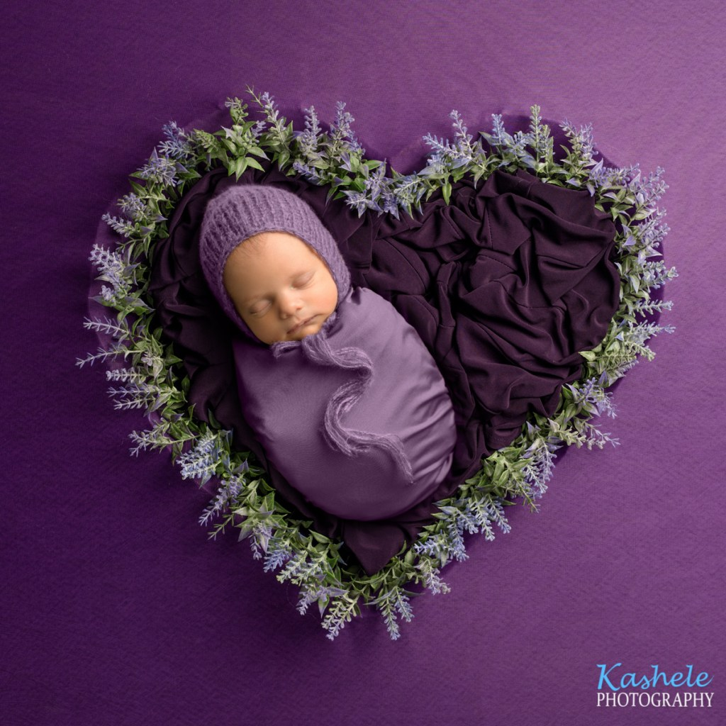 Baby in lavender heart for Logan Newborn Photographer post