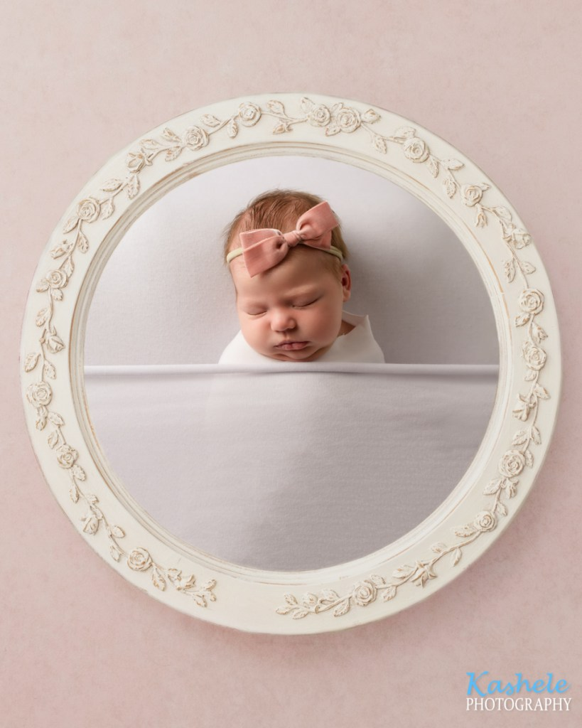 Vintage frame tucked into bed shot for Utah County Newborn Photography Post