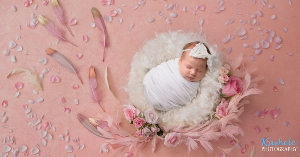 Roses and feathers newborn picture of baby Runyan
