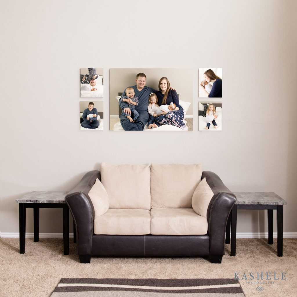 Image of custom wall art hung above a couch