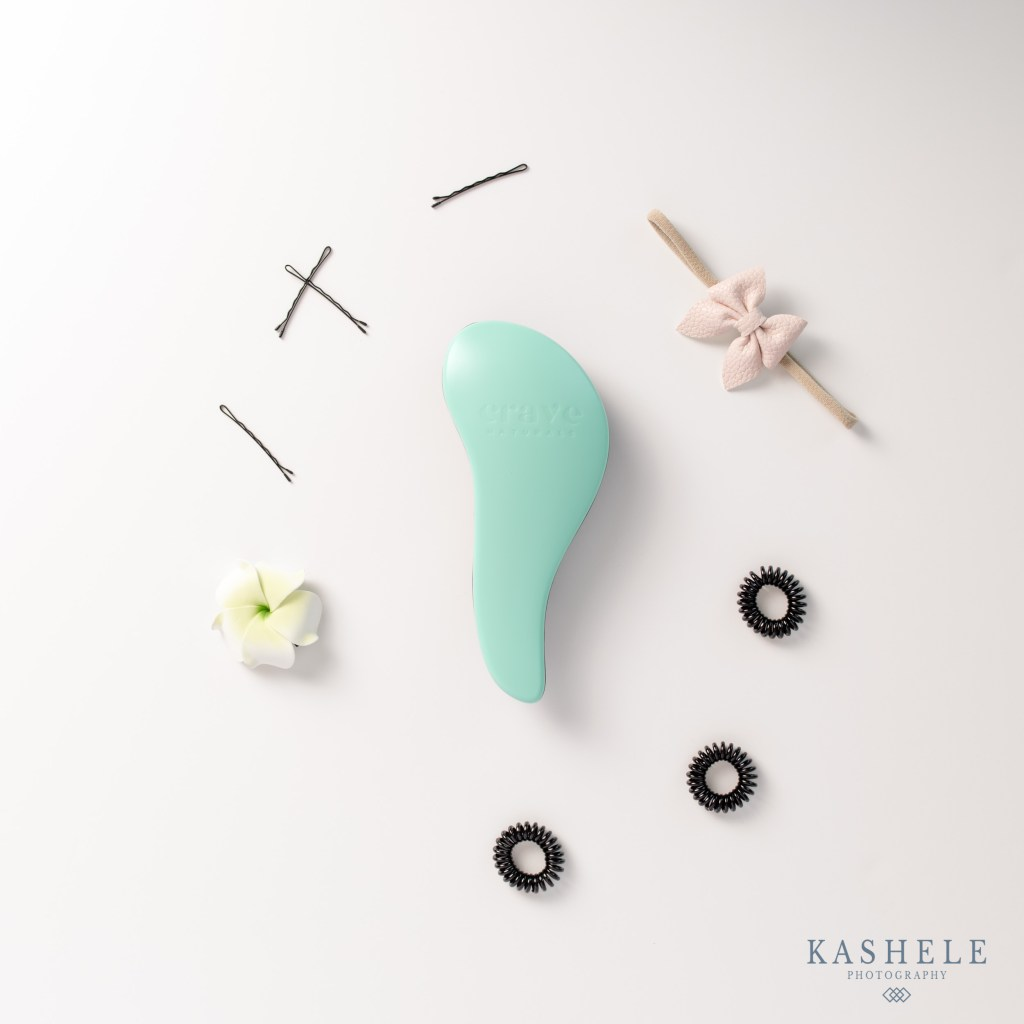 Commercial Product Photography Starter Image of a hair accessory Flatlay
