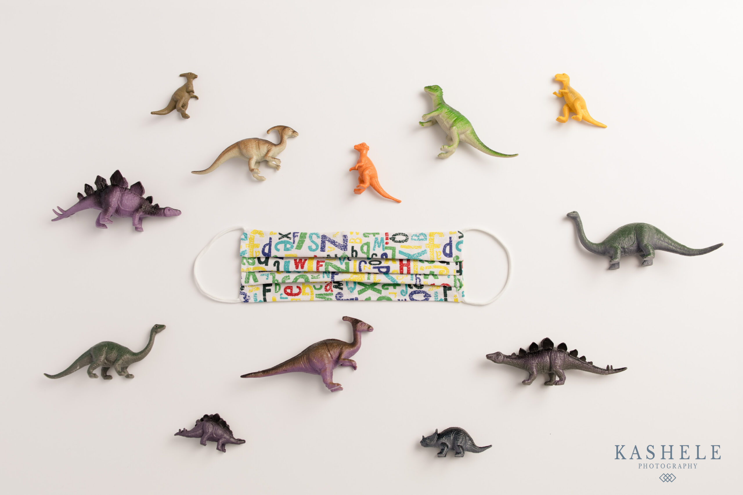 Commercial Product Photography Utah flatlay image of kids facemask with dinosaur toys