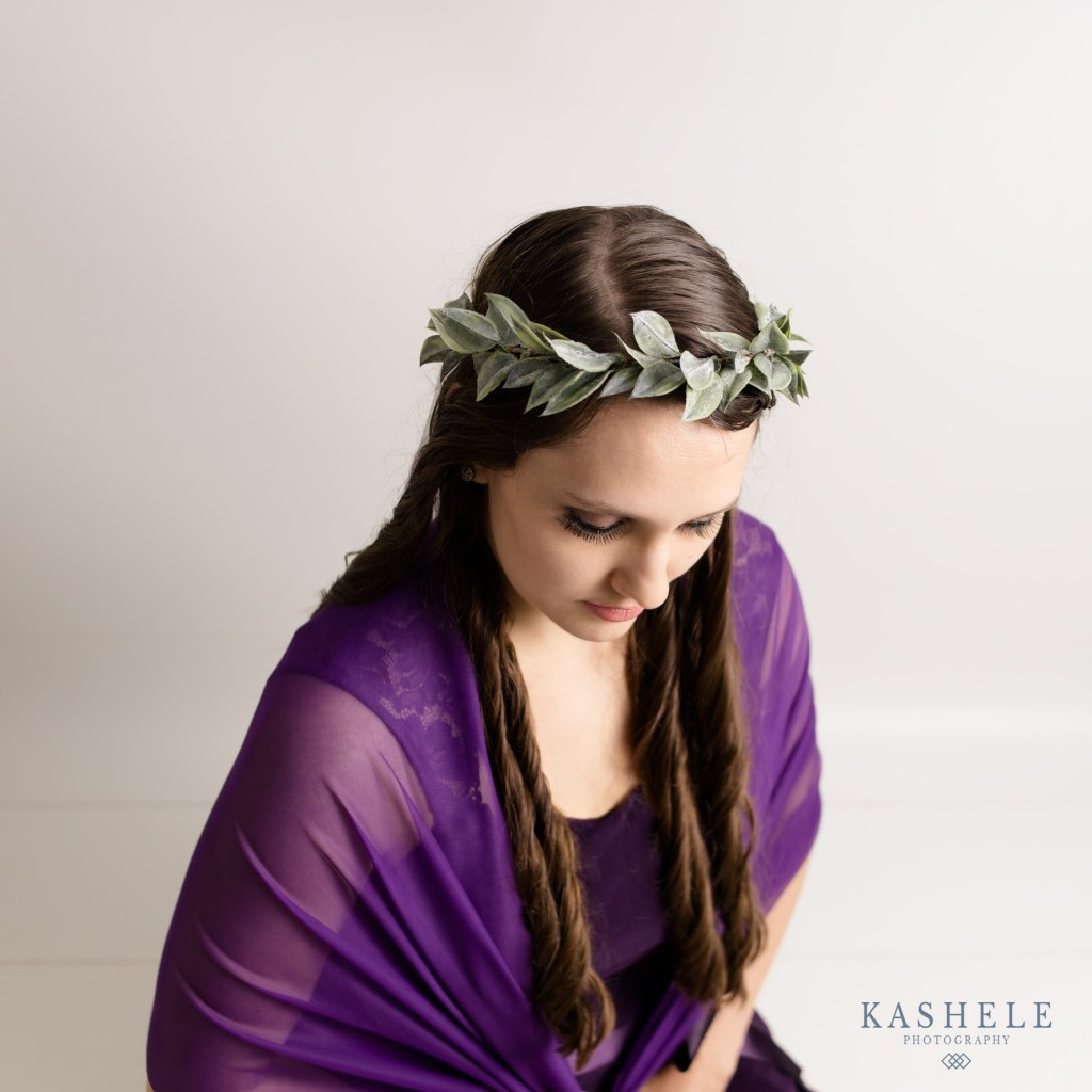 modeled photo of a leafy flower crown