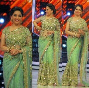 The ever beautiful Madhuri Dixit Nene rocks the colour green in Indian wear. The saree looks graceful indeed