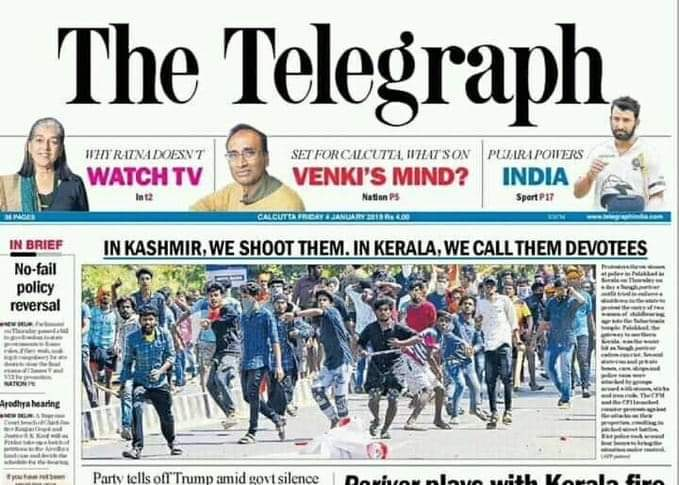 Telegraph front-page: In Kashmir, we shoot them. In Kerala, we call them devotees