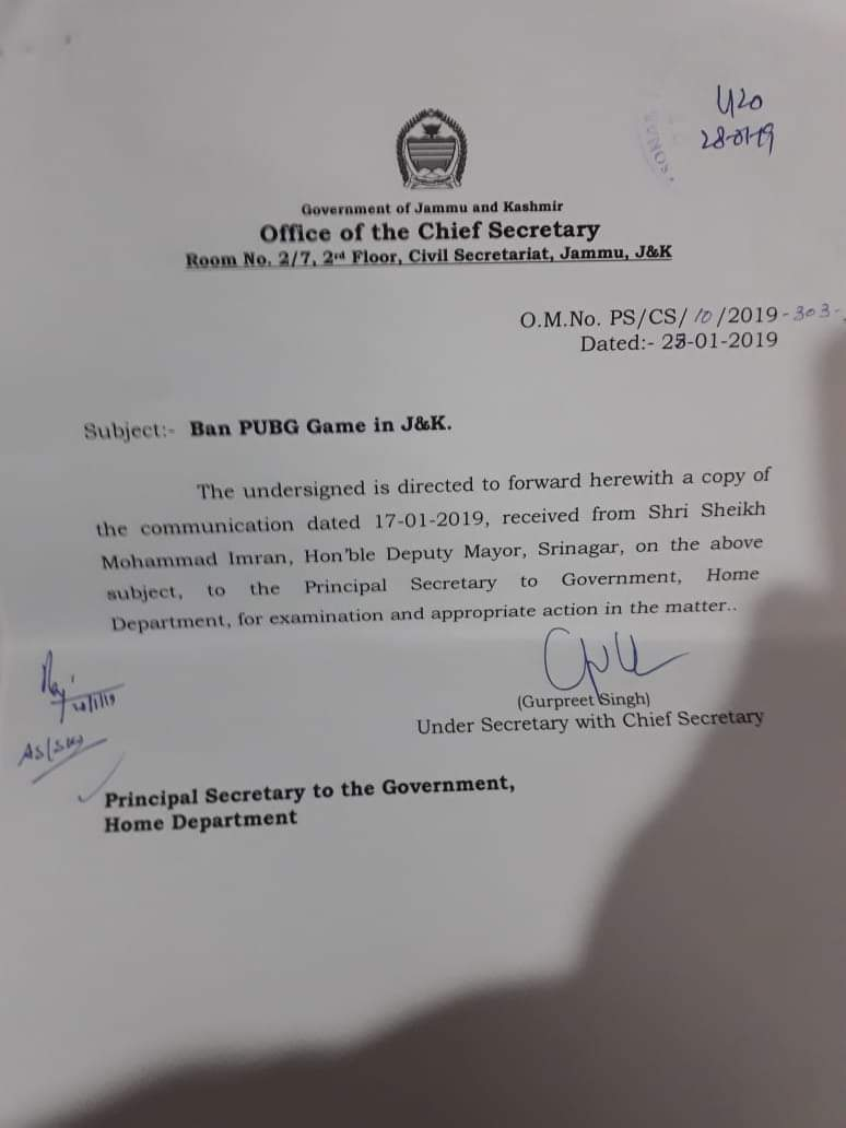 Ban on PUBG game:  CS writes to Home Deptt for necessary action