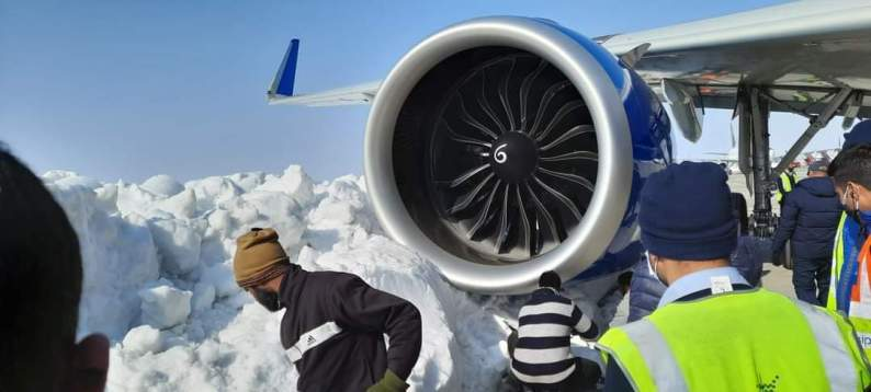 Indigo Plane Comes Closes To Snow Mound At Srinagar Airport, Passengers Deboarded