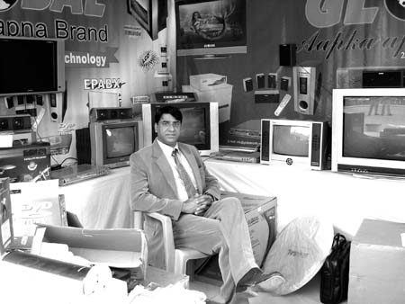 Tufail Ahmad Bhat at his stall during the industrial exhibition