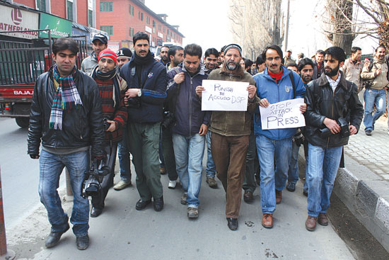 A rare sight: Journalists in Kashmir do not have enough of time to protest against the situations that hits and hurts them.