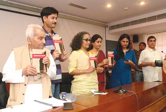 Members of JTSA releasing the report on inncocent Muslim victims framed by Special Cell
