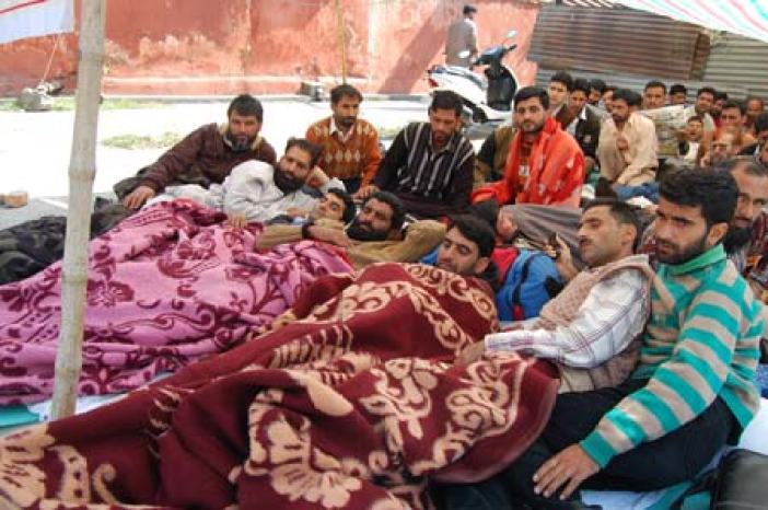 Teachers on Hunger Strike at Press Enclave Srinagar