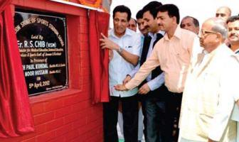 J&K sports minister RS Chib laying foundation of sports stadium at Samba, Jammu