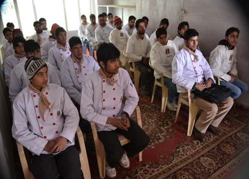 Trainees attending a session at Army run training centre in Bandi --Photo: Ashiq Mir