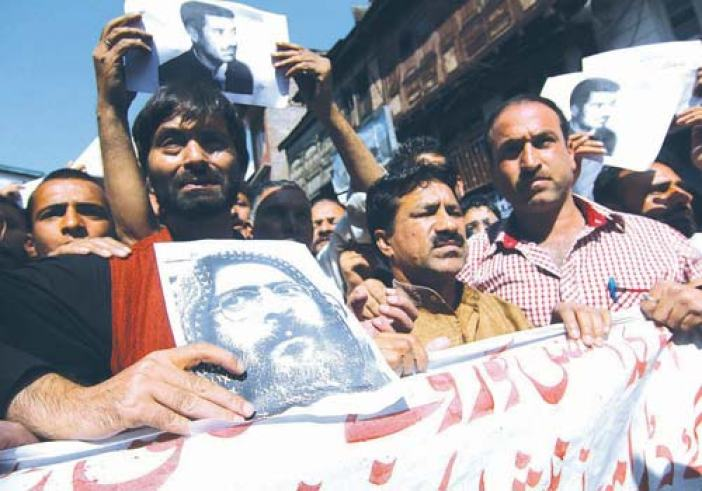 JKLF chairman Yaseen Malik during a protest demonstration against the hanging of Afzal guru.