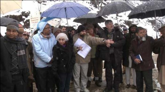 Members of the International Court of Arbitration visiting the Kishanganga proposed dam site in Gurez in February 2012, their last visit to the controversial project.