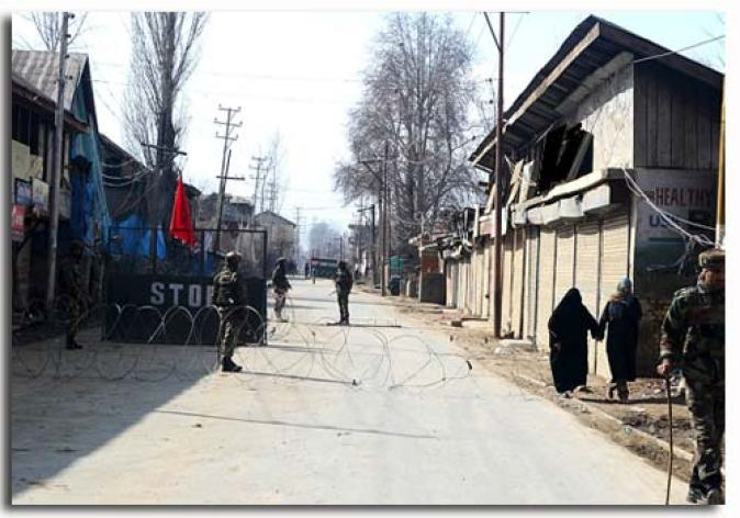 The para-military forces had placed concertina wires on the road leading to the village of Afzal Guru in Sopore --Photo: Abid Nabi