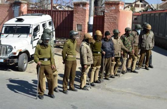 Police personnel deployed outside Geelani's Hyderpora residence.