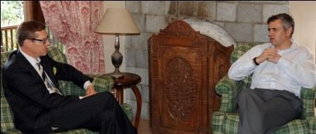 Ambassador of Switzerland in India Dr. Linus Von Castelmur calling on Chief Minister, Omar Abdullah at Srinagar-8