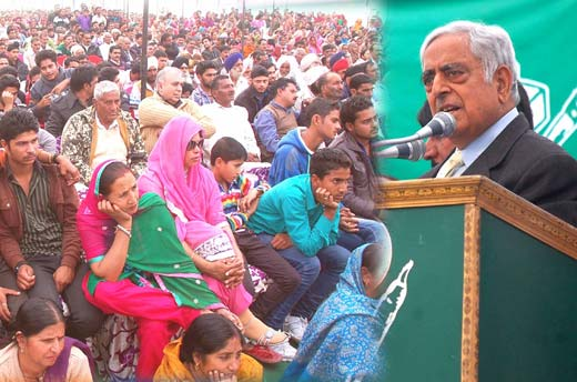 PDP patron addressing a public meeting in Jammu recently.