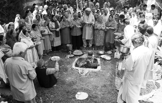 Kashmiri Pandits Praying for peace in this file image.