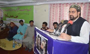 Mirwaiz Umar Farooq  addressing party members in Srinagar. Pic: Bilal Bahadur