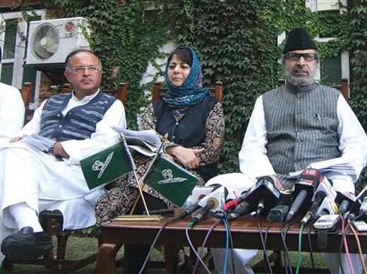 PDP MPs: Tariq Hameed Karra, Mehbooba Mufti and Muzaffar Hussain Beigh. Pic: Bilal Bahadur