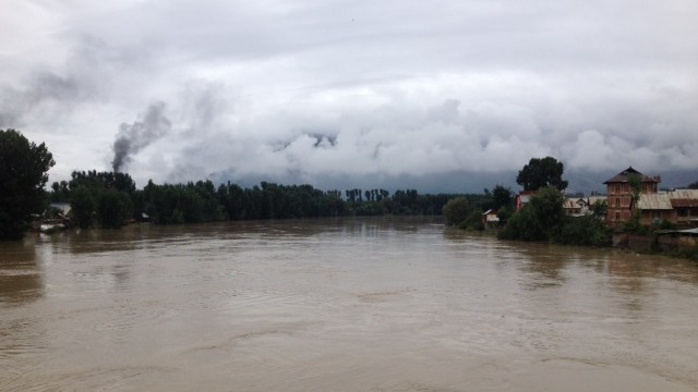 A scene of furious Jhelum river at Pampore